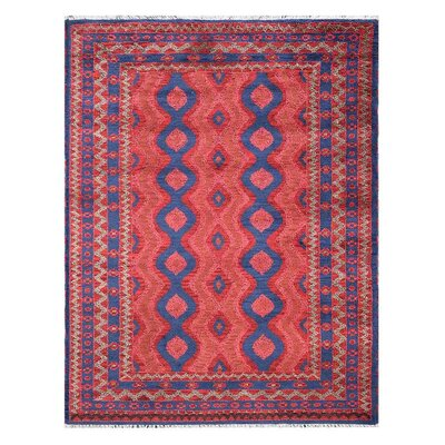 Pointer Afghan Hand-Woven Red/Blue Area Rug 72E1F996822A4D97A5FEB7404B27DA08