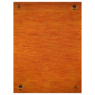 Manns Hand-Woven Wool Orange Area Rug