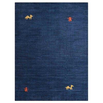 Manns Hand-Woven Wool Blue Area Rug