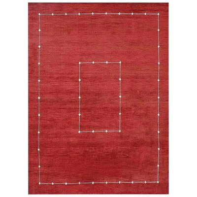 Shaila Loom Hand Woven Wool Red Area Rug Rug Size: Square 10