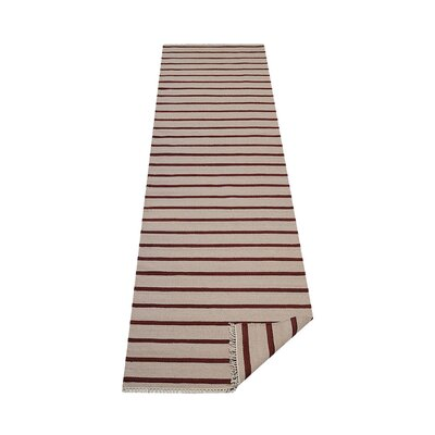 Donora Hand-Woven Cream/Red Area Rug Rug Size: Runner 26 x 10