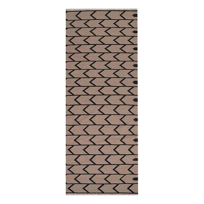 Alisia Hand-Woven Cream/Charcoal Area Rug Rug Size: Runner�3 x 13