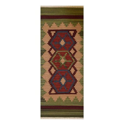 St Catherine Hand-Woven Wool Burgundy/Olive Area Rug Rug Size: Runner�26 x 10
