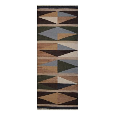 Clarence Hand-Woven Brown/Blue Area Rug Rug Size: Runner 26 x 6