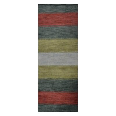 Ry Hand-Woven Wool Green/Red Area Rug Rug Size: Runner 26 x 10