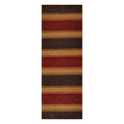 Ceniceros Striped Hand-Woven Wool Brown/Gold Area Rug Rug Size: Runner 28 x 12