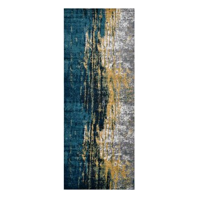 Costales Yellow/Silver/Blue Area Rug Rug Size: Runner�32 x 10