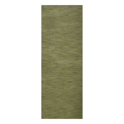 Delano Solid Hand-Woven Wool Green Area Rug Rug Size: Runner 26 x 10