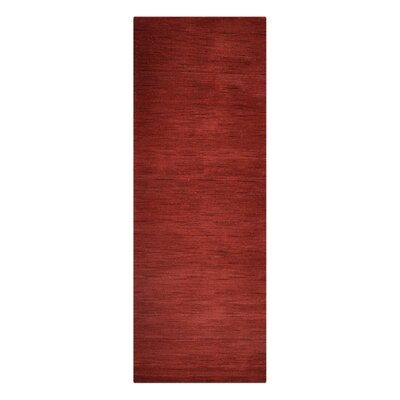 Delano Solid Hand-Woven Wool Red Area Rug Rug Size: Runner 26 x 10