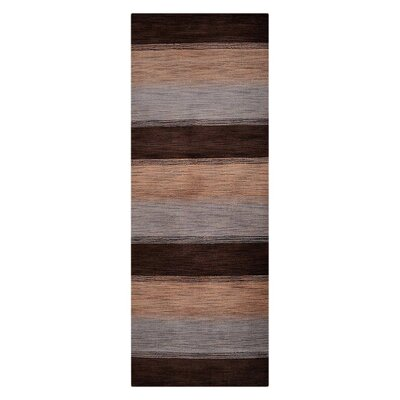 Ceniceros Striped Hand-Woven Wool Brown/Beige Area Rug Rug Size: Runner 26 x 10