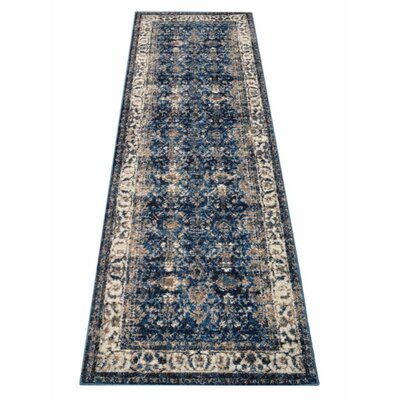 Areswell Ivory/Blue Area Rug Rug Size: Runner�32 x 10