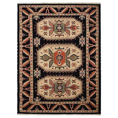 Corrin Hand-Woven Black/Cream Area Rug Rug Size: Rectangle 5 x 8