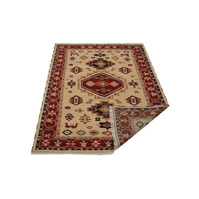 Corrin Hand-Knotted Gold/Red Area Rug Rug Size: Rectangle 6 x 9