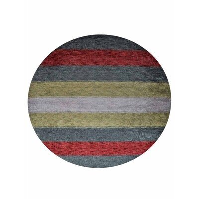 Ry Hand-Woven Wool Green/Red Area Rug Rug Size: Round 10