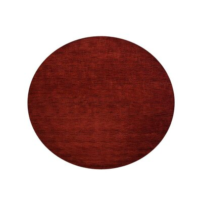 Delano Solid Hand-Woven Wool Red Area Rug Rug Size: Round 10'