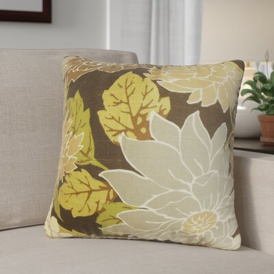 Ashendon Floral Outdoor Throw Pillow Cover Color: Brown