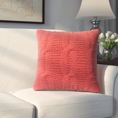 Broadway Village Cable Knit Cotton Throw Pillow Color: Orange
