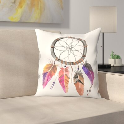 Jetty Printables Watercolor Dream Catcher Throw Pillow Size: 18 x 18