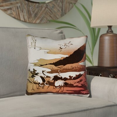Montreal Japanese Cranes Outdoor Throw Pillow Size: 16 x 16 , Pillow Cover Color: Red