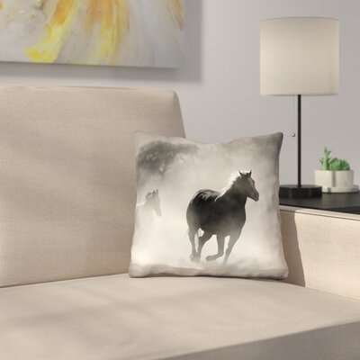 Aminata Galloping Horses Square Double Sided Print Indoor Pillow Cover Size: 14 x 14