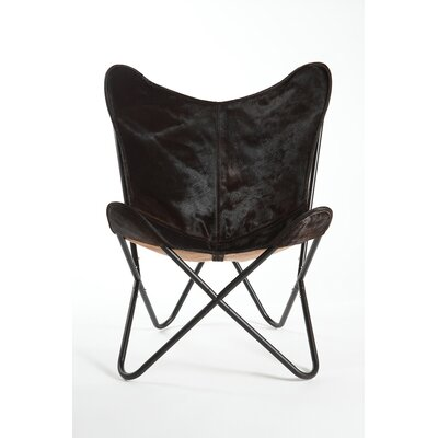 Cobham Butterfly Cowhide Lounge Chair Upholstery: Black/Espresso