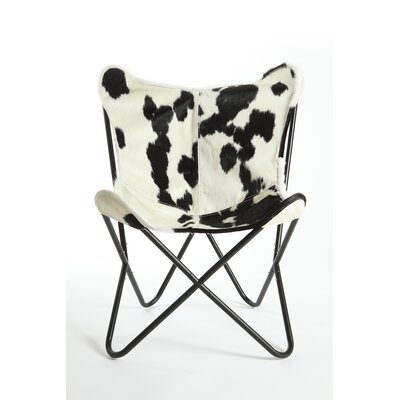 Cobham Butterfly Cowhide Lounge Chair Upholstery: Black/White