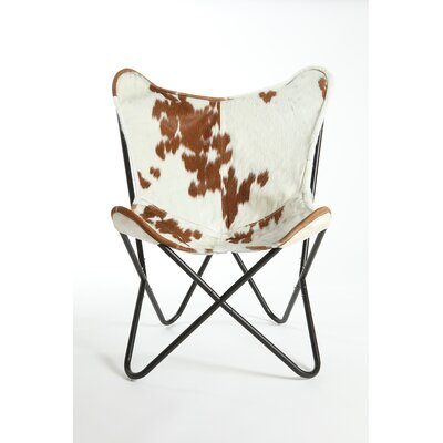 Cobham Butterfly Cowhide Lounge Chair Upholstery: Brown/White