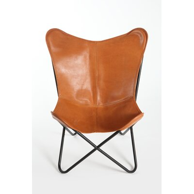 Cochrane Butterfly Saddle Natural Leather Lounge Chair Upholstery: Saddle