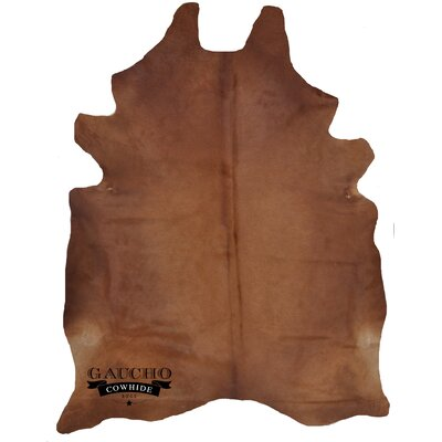 One-of-a-Kind Pinkham Solid Brown Cowhide Area Rug
