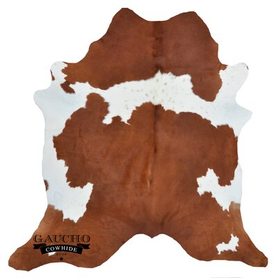 One-of-a-Kind Pinette Brown/White Cowhide Area Rug