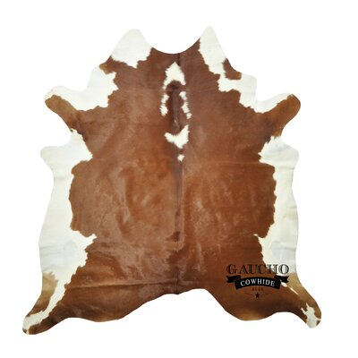 One-of-a-Kind Pinion Cowhide Brown/White Area Rug