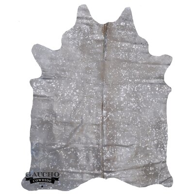 One-of-a-Kind Pinheiro Metallic Cowhide Exotic Silver/Off-White Area Rug