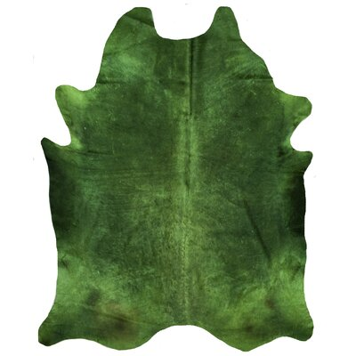 One-of-a-Kind Korando Solid Dyed Green Cowhide Area Rug