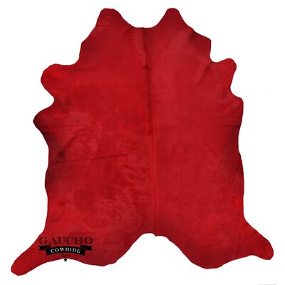 One-of-a-Kind Jonson Solid Dyed Red Cowhide Area Rug