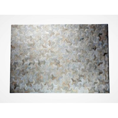 One-of-a-Kind Krogman Natural Patchwork Champagne/Ivory Cowhide Area Rug Rug Size: Rectangle 8 x 10