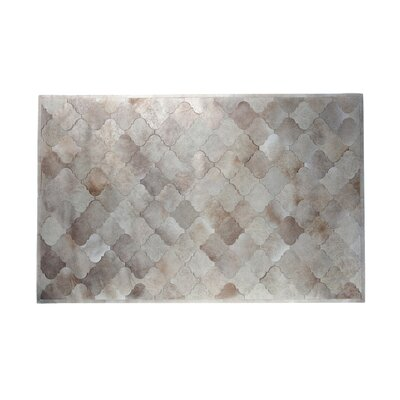 One-of-a-Kind Kornegay Natural Patchwork Cowhide Beige Champagne Area Rug