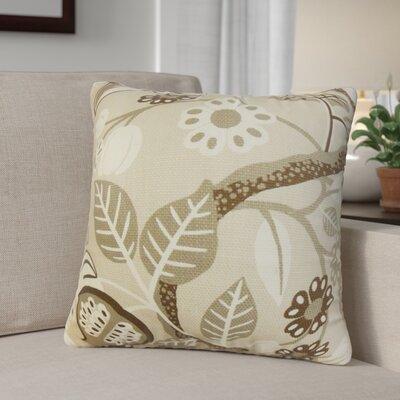 Ashville Floral Cotton Throw Pillow Cover Color: Brown