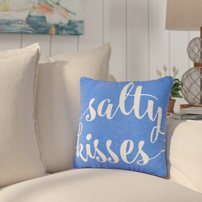 Destin Salty Kisses Typography Cotton Throw Pillow Size: 16 H x 16 W x 6 D, Color: Blue