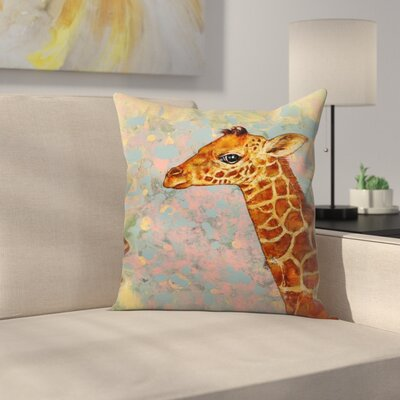 Michael Creese Baby Giraffe Throw Pillow Size: 14 x 14