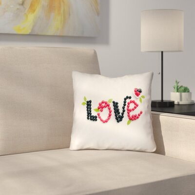 Buoi Love and Berries Square Double Sided Print Indoor Throw Pillow Size: 14 x 14
