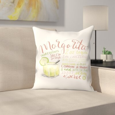 Jetty Printables Margarita Typography Recipe Art Throw Pillow Size: 14 x 14