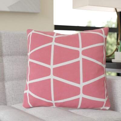 Ochoa Cotton Throw Pillow Size: 18 H x 18 W x 4 D, Color: Hot Pink / Ivory