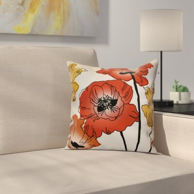 Poppies Floral Outdoor Throw Pillow Size: 16 H x 16 W x 2 D, Color: Red / Orange