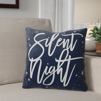 Silent Night Outdoor Throw Pillow Color: Blue/ White, Size: 18 x 18