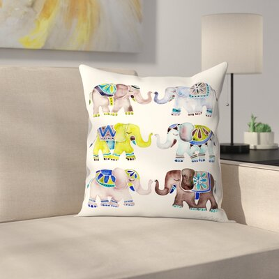 Cat Coquillette Elephant Collection Throw Pillow Color: Blue/Green/Brown, Size: 18 x 18