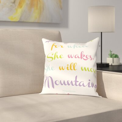 Let Her Sleep Mountains Throw Pillow Size: 20 H x 20 W x 2 D, Color: Purple/Green