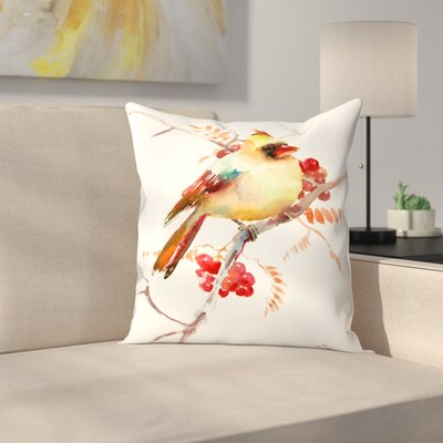 Suren Nersisyan Cardinal Bird and Berries Throw Pillow Size: 16 x 16
