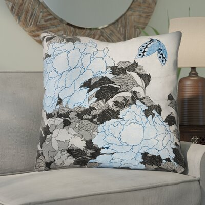 Clair Peonies and Butterfly Square Throw Pillow Size: 40 H x 40 W, Color: Gray/Blue
