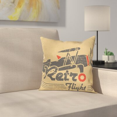 Vintage Airplane Retro Emblem Square Pillow Cover Size: 18 x 18