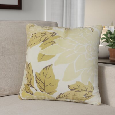 Ashendon Floral Cotton Throw Pillow Color: Sandstone, Size: 24 x 24